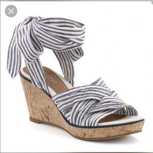 Sperry Santa Rosa Seersucker Wedge Sandals 9.5